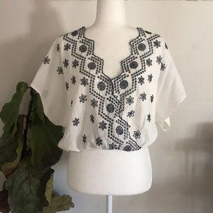 Zara Trafaluc black & white embroidered crop top